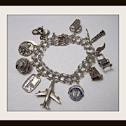 Vintage Sterling Silver Travel Charm Bracelet w/10 Charms