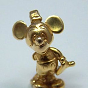 14K Gold Vintage Souvenir Charm ~ Walt Disney's Mickey Mouse ~ Figural
