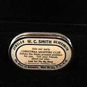 1920's Celluloid Pocket Bank-W.C. Smith-Silversmith/Jeweler- Haverhill, Mass.