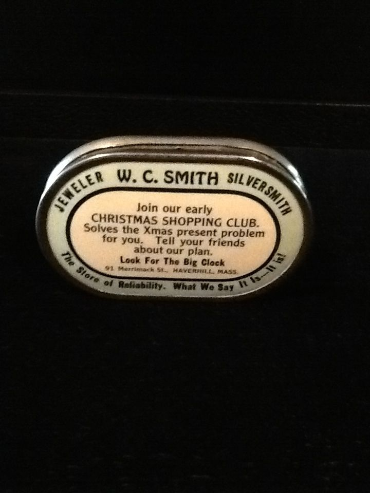 1920's Celluloid Pocket Bank-W.C. Smith-Silversmith/Jeweler- Haverhill, Mass.