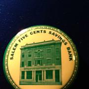1920's Celluloid Pocket Dime Bank- Salem