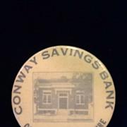 1920's Celluloid Pocket Dime Bank- Conway Savings Bank-Conway, NH