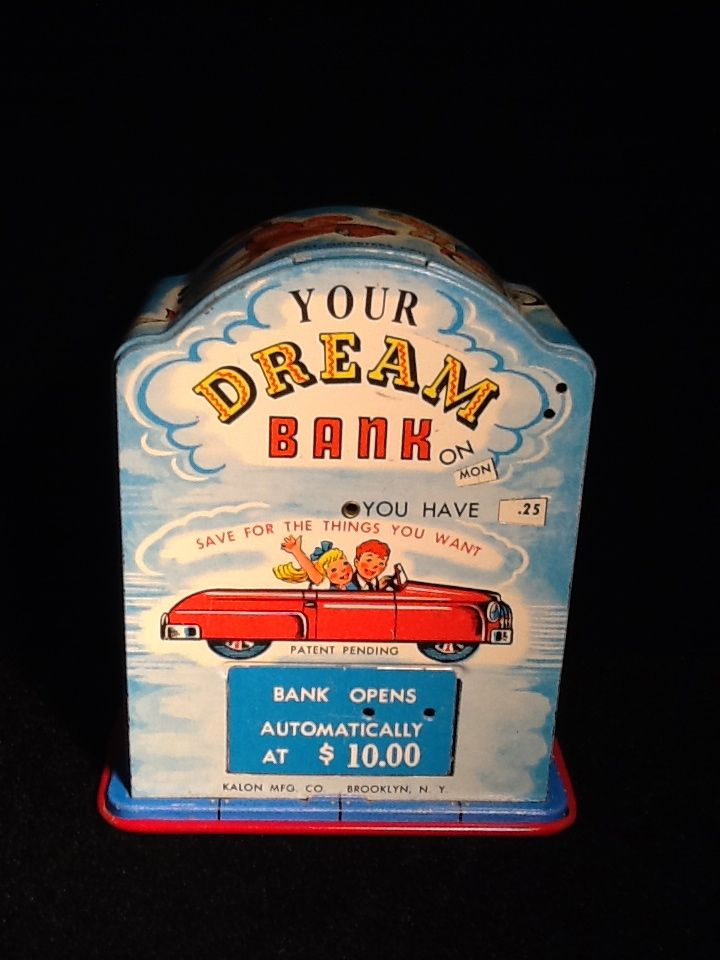 Dream Bank- 1950's tin bank