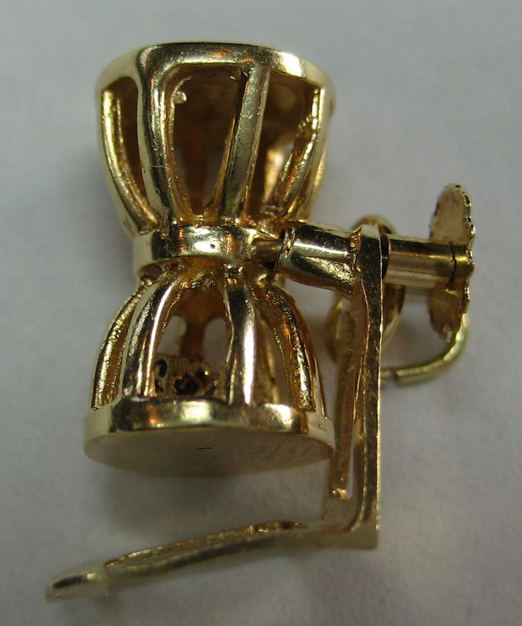 Moveable Chuck-a-Luck Dice Game Vintage 14k Gold Charm