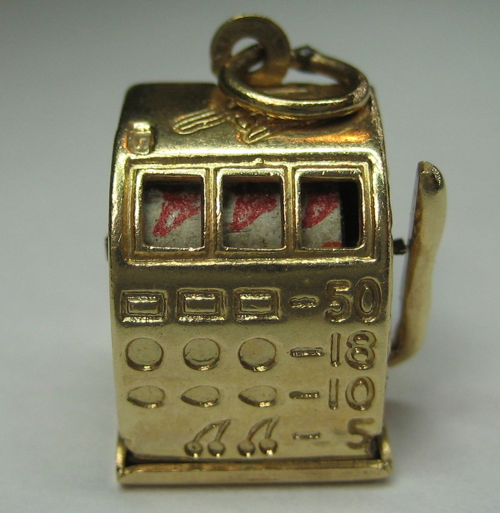 Vintage 14K Gold Slot Machine-Moveable