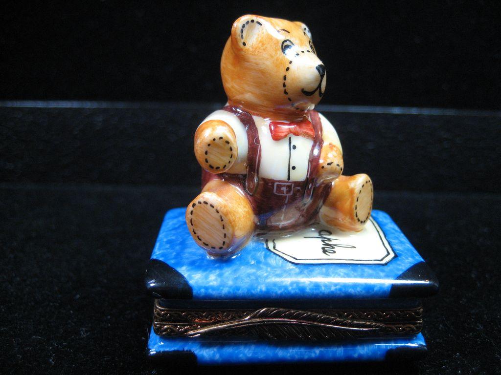 Porcelain Limoges Teddy Bear Trinket Box