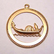 18K Gold Travel Charm / Pendant ~ Venice Gondola