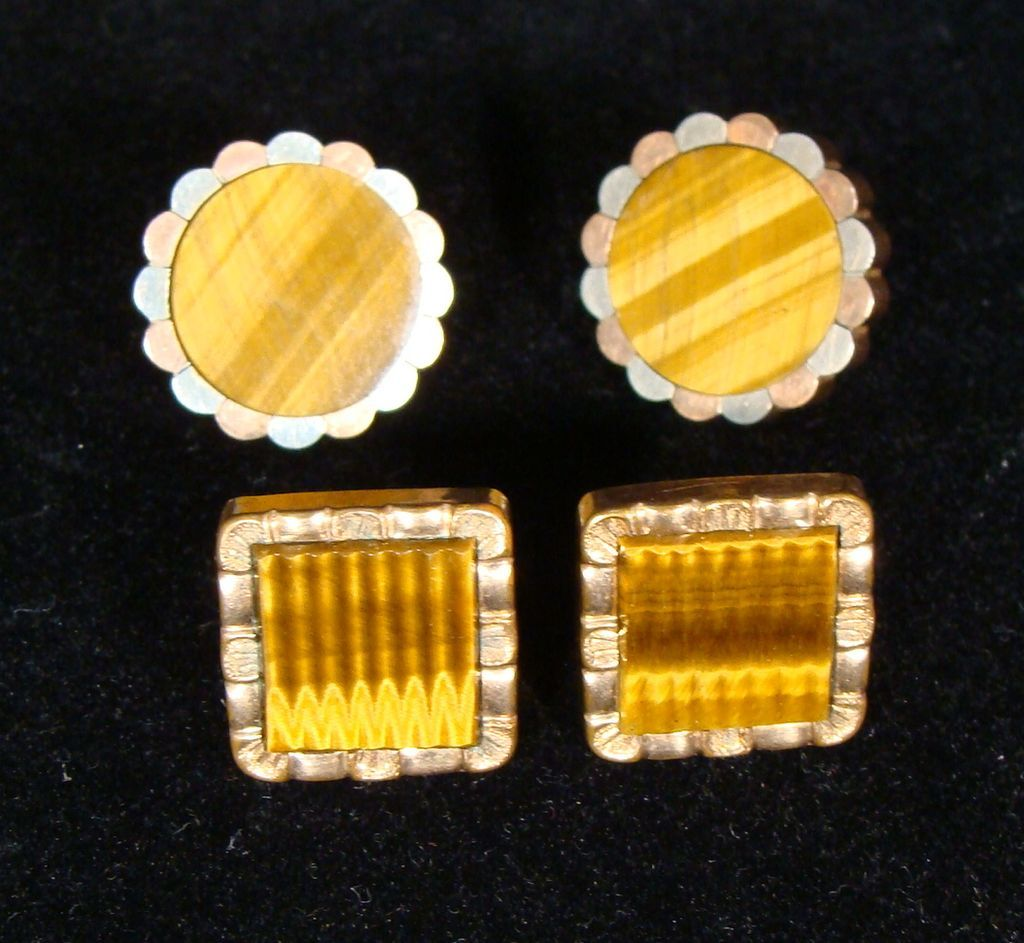 Vintage Gold Filled Tiger Eye Cuff Links