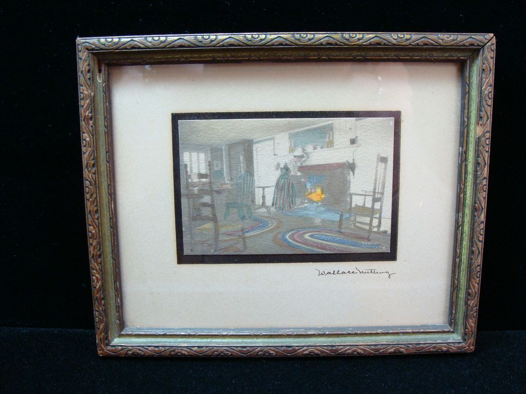 Vintage Wallace Nutting Miniature Framed Sip of Tea
