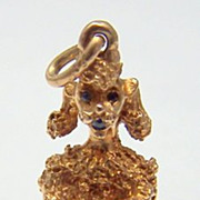Classic 14K Gold Vintage Charm ~ Begging POODLE