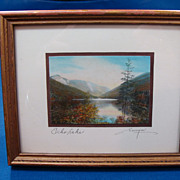 Vintage Charles H Sawyer Miniature Framed Photograph- Echo Lake