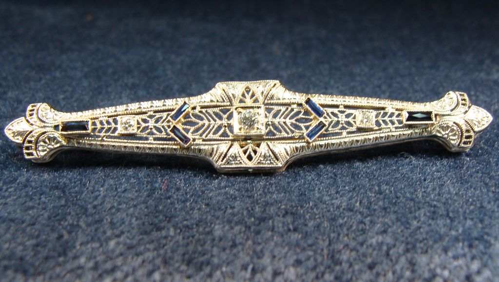 Vintage Diamond Sapphire 14K White Gold Filagree Brooch