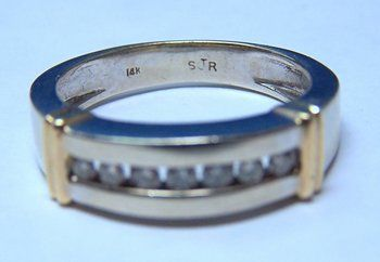 Gent's 14K WG & YG Diamond Ring / Wedding Band
