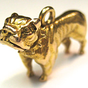 Vintage 14K Bulldog with Spike Collar Charm