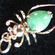 Vintage 14K Spider with Green Stone Charm