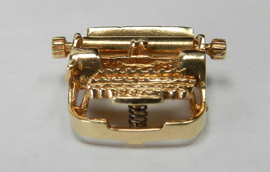 Vintage 14K Typewriter Charm-Moveable