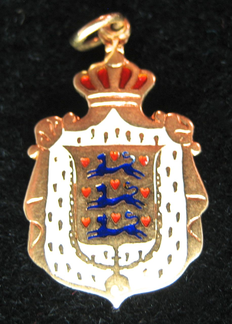 Vintage 14K Denmark Coat of Arms Charm