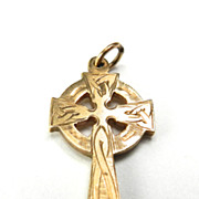 Vintage 9K Celtic Cross Charm