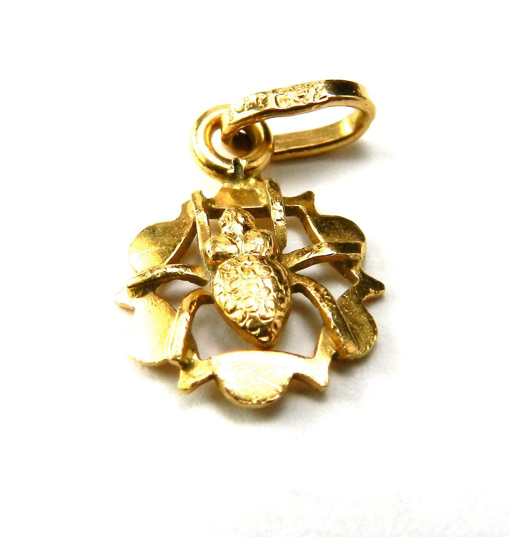 Vintage 18K Spider in a Web Charm