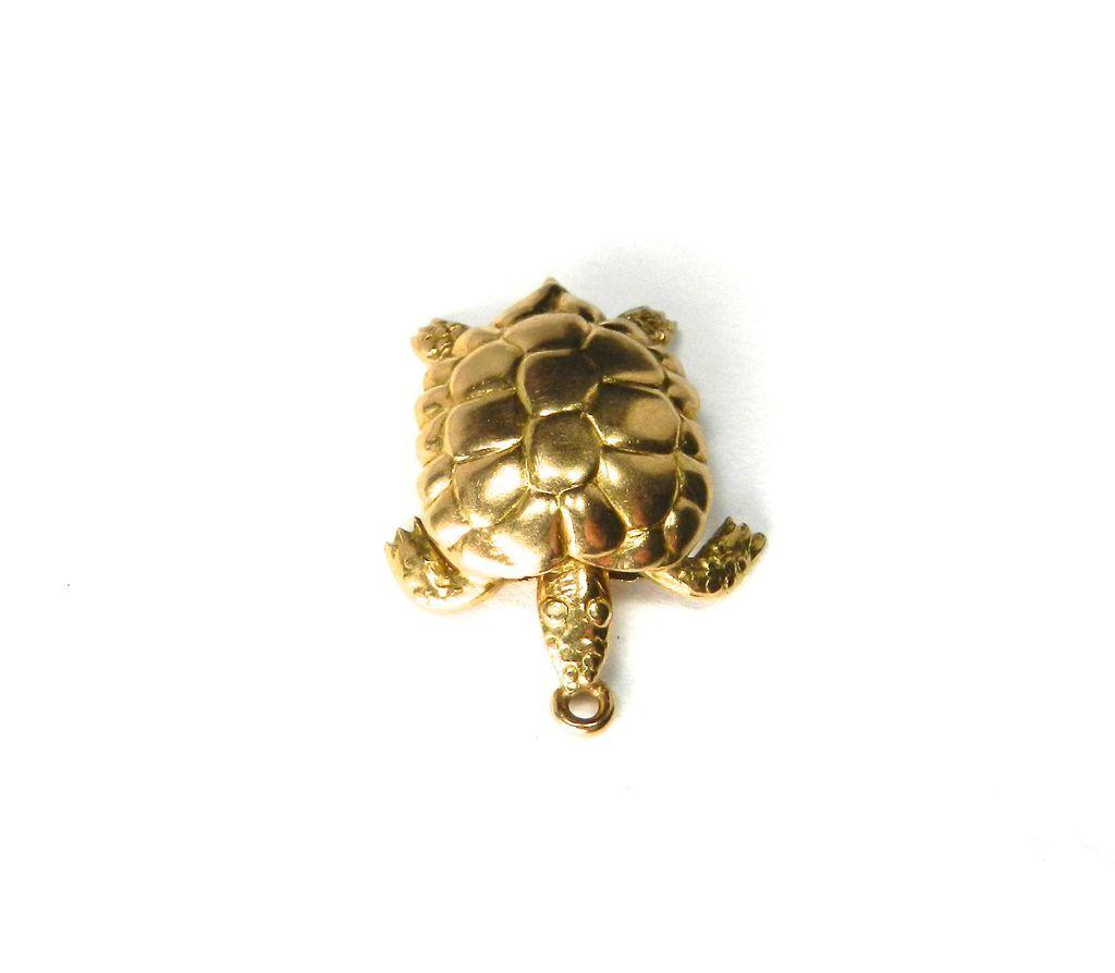 Vintage 18K Turtle Charm