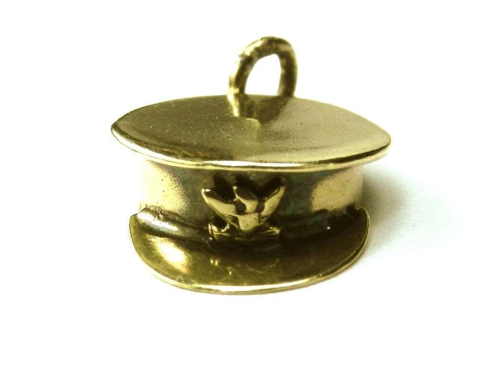 Vintage 10K Army Officer's Hat Charm