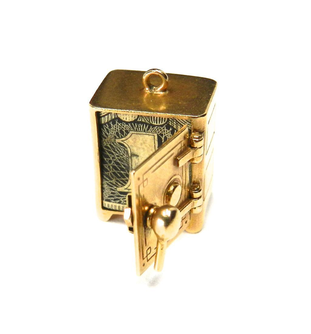 Vintage 14K Mad Money Safe Moveable Charm