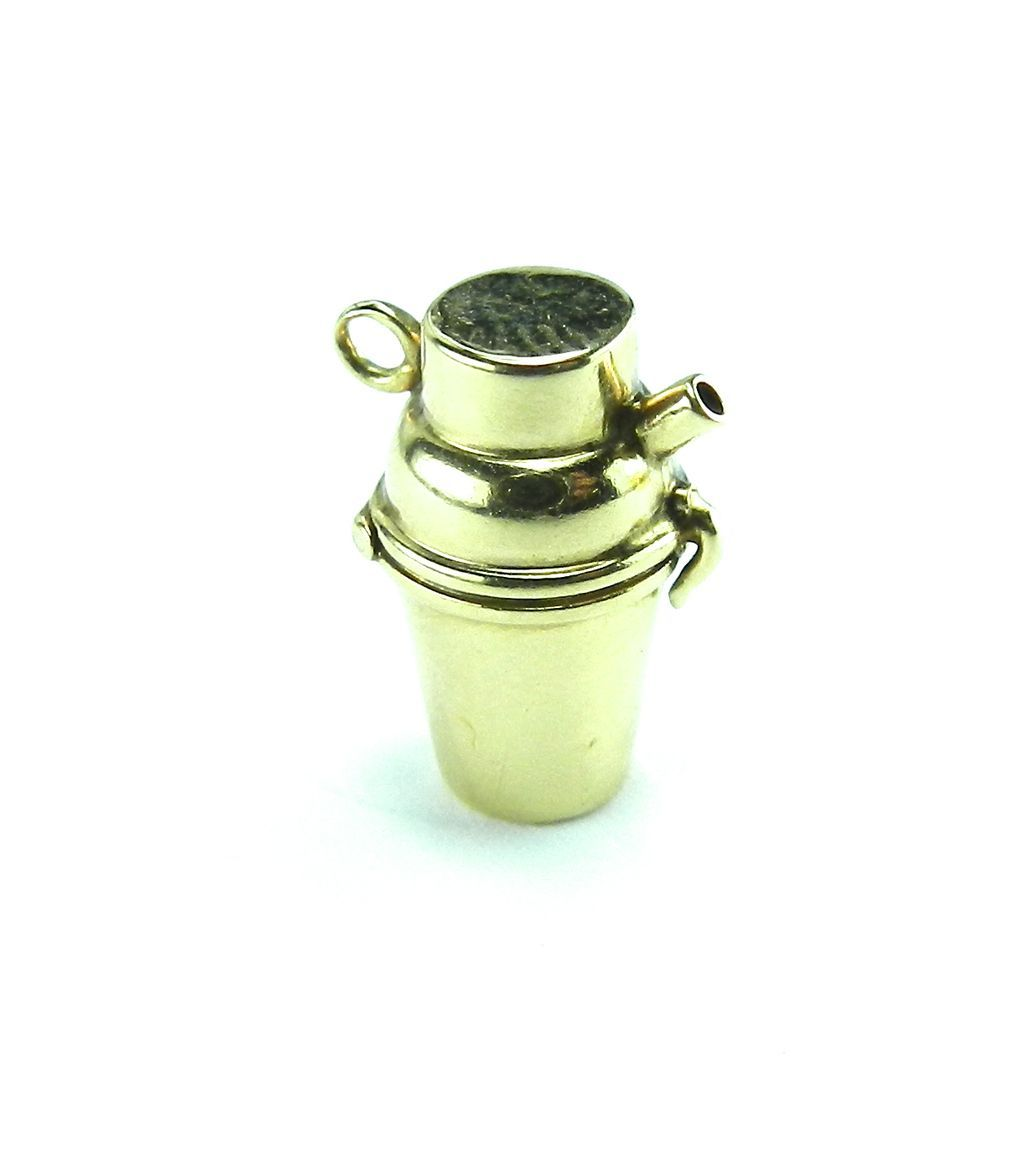 Vintage 14K Cocktail Shaker Charm-Moveable