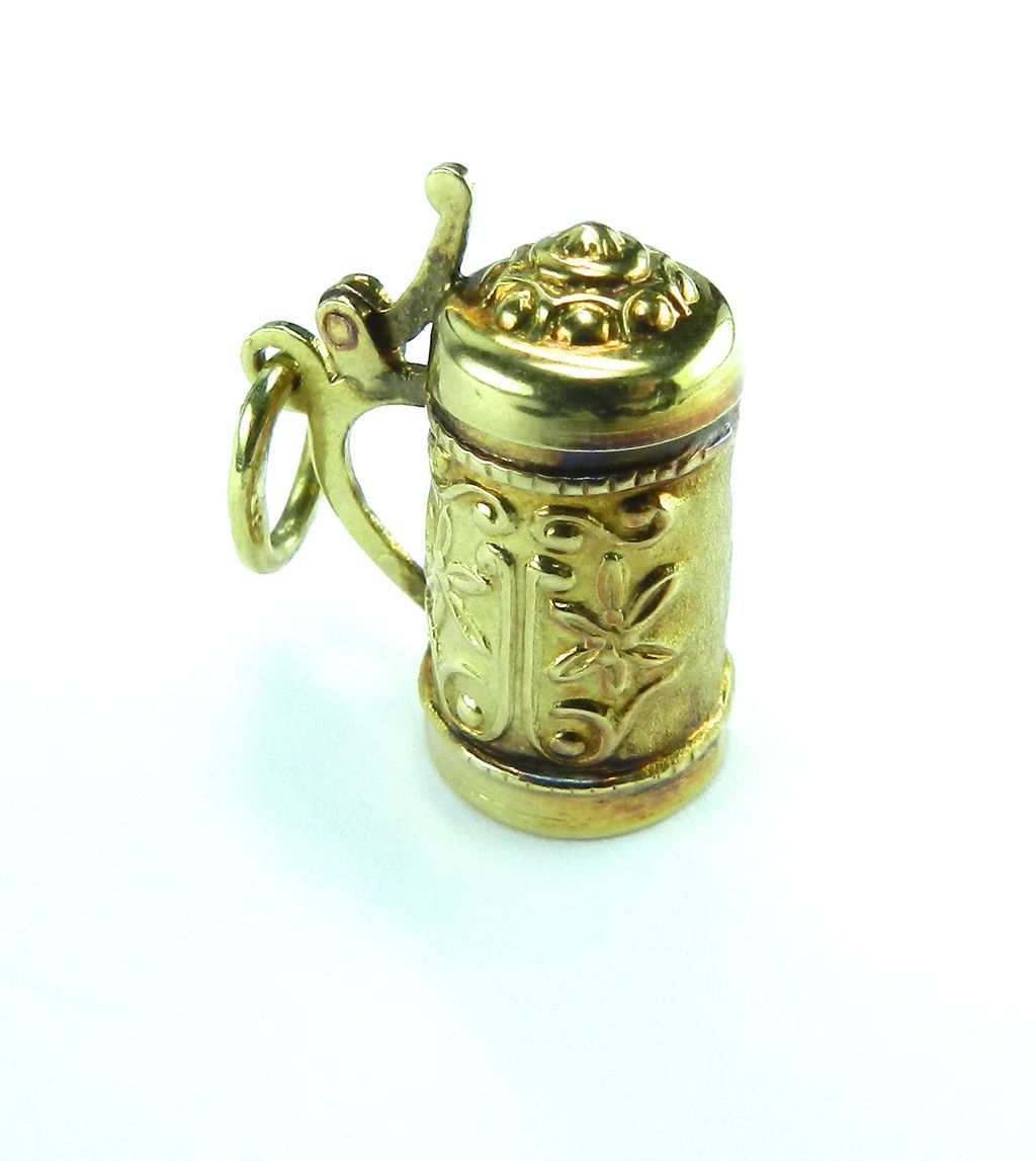 Vintage 14K Beer Stein Charm with Top that Opens
