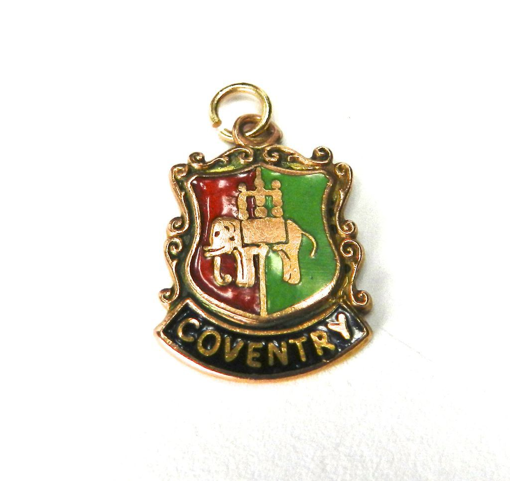 Vintage 9K Coventry Coat of Arms Charm-England