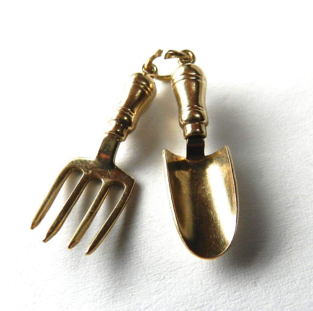 Vintage 9k trowel and hand fork garden tools charm from for Gardening tools vintage