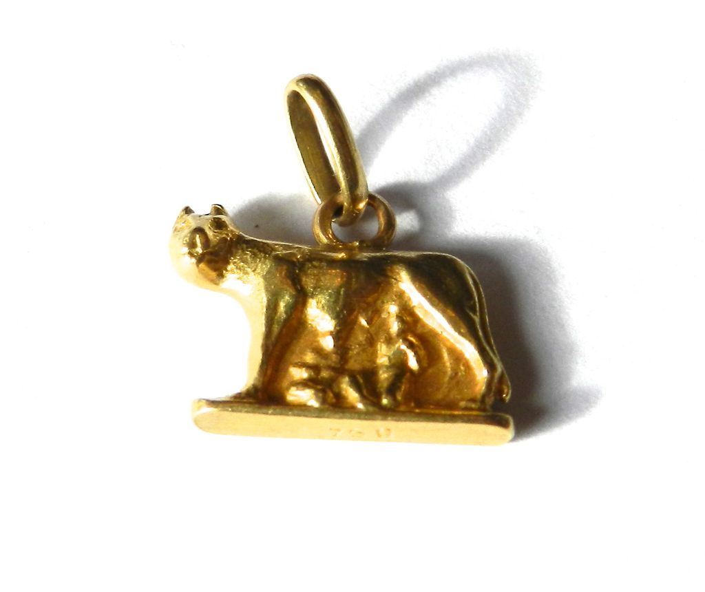 Vintage 18K Romulus and Remus Charm-Rome