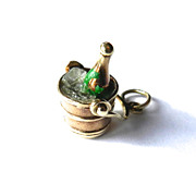 Vintage 14K Champagne on Ice in Bucket Charm-Moveable Handle