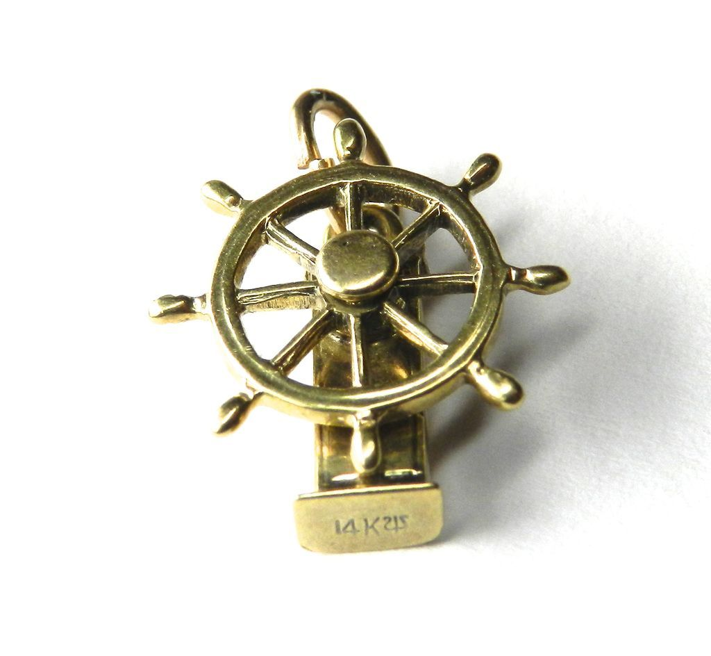 Vintage 14k Ship Steering Wheel Charm Moveable From