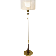 Mid-Century Modern Brass Floor Lamp with Cream Perforated Shade