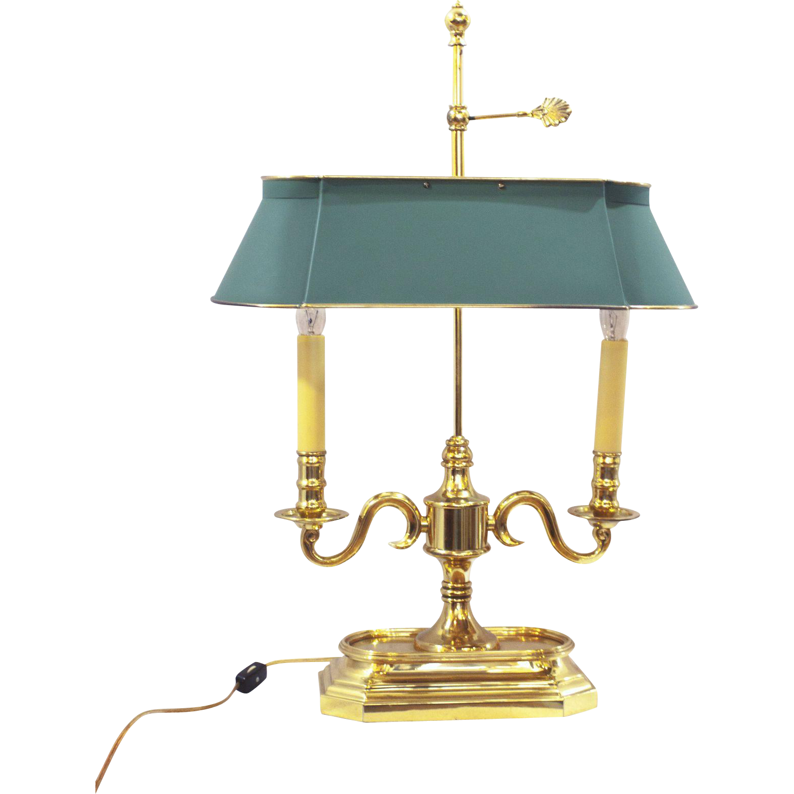 Frederick Cooper Bouillotte style lamp with elongated tole shade