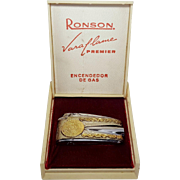 Ronson Vera Flame Premier Encendor De Gas Lighter Rare Aztec Calendar Design