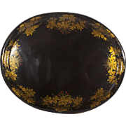 Antique Large Black and Gold TolewareTray 28""