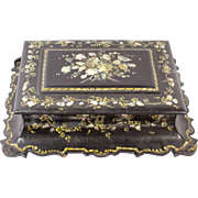 19th Century Paper Mache Abalone Inlaid Mop Box