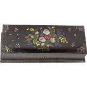 Vintage Paper Mache Abalone Inlaid Hand Painted Box