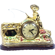 Vintage United Clock Co. Animated Fisherman's Clock with moving parts, Fishing, Huck Finn, Tom Sawyer, Fish, Summer, Cabin, mens room, mancave