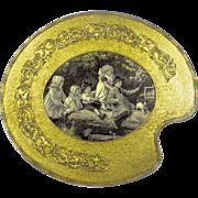 Vintage Framed Textile Print in Gold Gilt Frame
