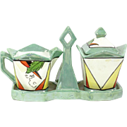 Art Deco Lustreware Geometric Sugar and Creamer Set with Carrier Stand  Made in Japan
