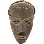 Vintage Wooden African Mask With Hair