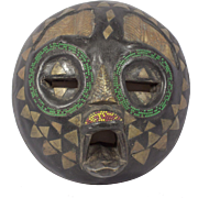 Vintage Round Wooden Ashanti Mask, Ghana African mask