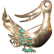Vintage Rare and Huge Sterling Silver Duck Brooch with green and clear Rhinestones and Gold wash