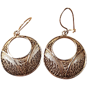 14k Gold Filigree Dangle Hoop Earrings