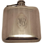 1920's Monogrammed Sterling Silver Hip Flask