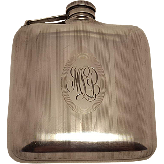 1920's Monogrammed Sterling Silver Hip Flask