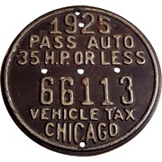 Vintage 1925 Chicago Vehicle Medallion 35 HP or Less