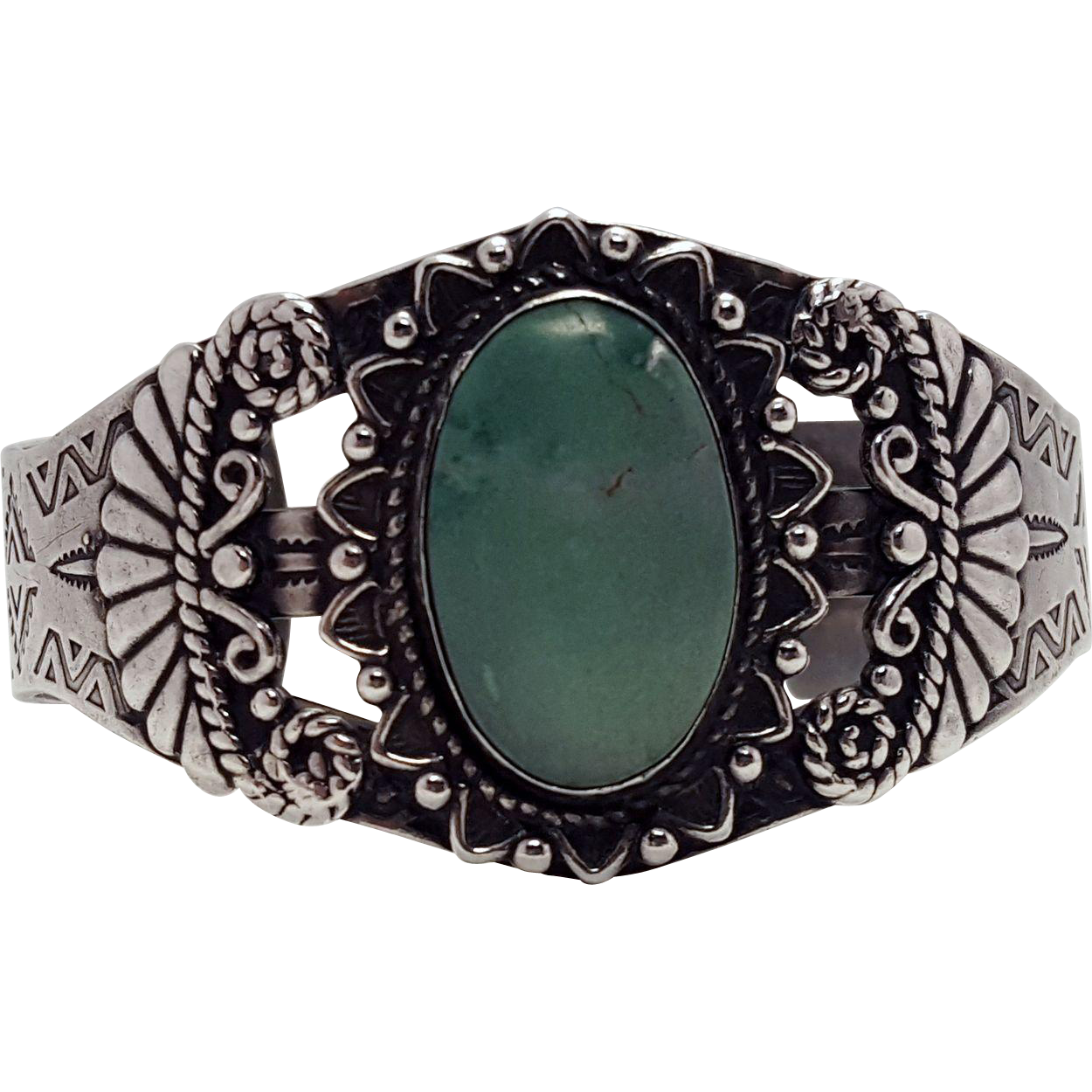 1940's Native American Sterling and Turquoise Cuff by Maisels